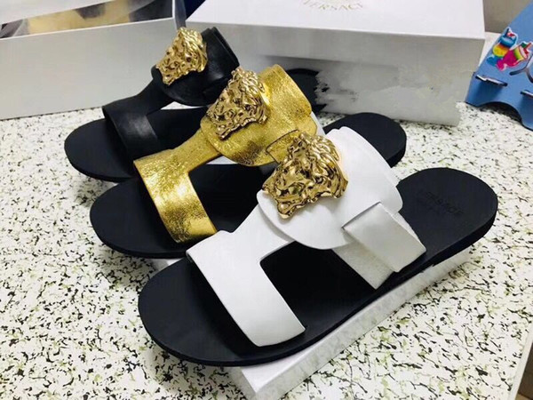 dhgate0004 / Europe Brand Fashion woman sstriped sandals causal Non-slip summer huaraches slippers flip flops slipper BEST QUALITY