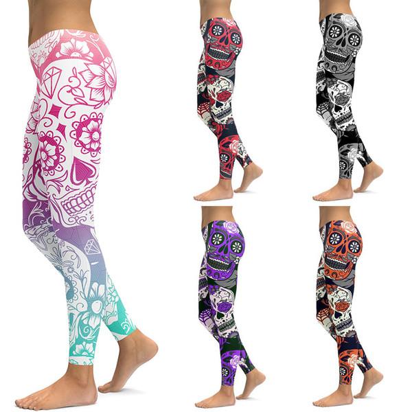 Wholesale Free Shipping Classic 3D Digital Print Skull Flower Leggings Women Causal Sexy Tight Pants Plus Size 4XL