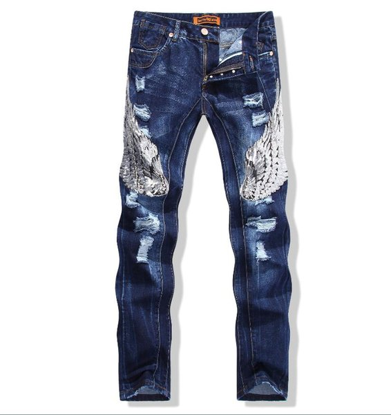 wholesale lowest price men's 3d wing embroidery jeans 2018 new men's luxury slim jeans pants men's blue jeans pant Free shipping 588