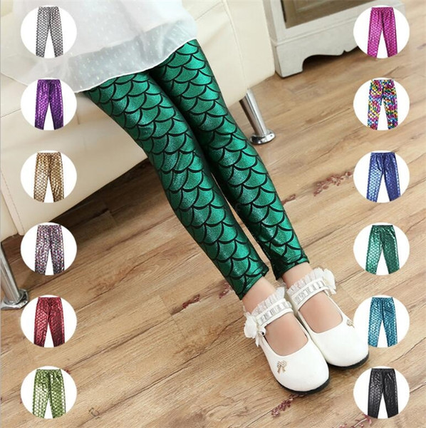 Kids Girls Mermaid Pants 12 Colors Colorful Digital Printing Pencil Trousers Kids Mermaid Fish Scale Shiny Leggings LA603-2
