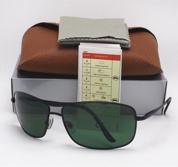 1pcs High Quality Fashion Best Selling Fashion Rectangle Sunglasses For Mens Womens Eyewear 64MM Sun Glasses 8013 Gold Metal Glass Lenses