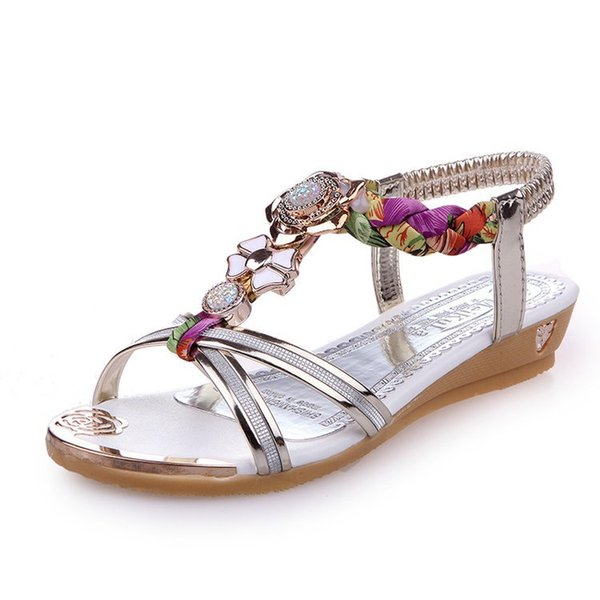 New 2018 Bohemian Sandals Casual Cool Women Summer Shoes Woman Flat Sandalias Mujer Soft Bottom Beaded Ethnic Women's Sandals