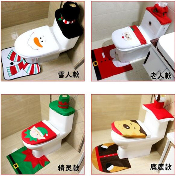 Merry Christmas Decoration Santa Toilet Seat Cover & Rug Bathroom Set Best Christmas Decorations Snowman Gifts Free Shipping