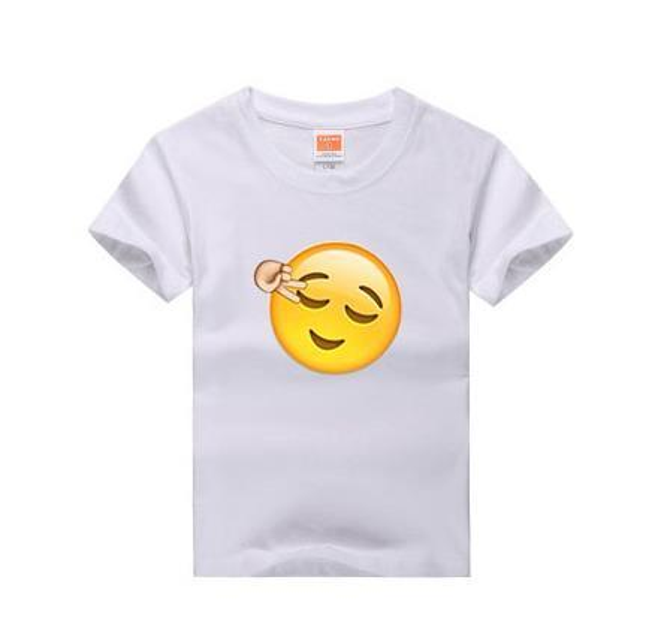 2017 Brand New Children Tshirt Emoji Smile Print 100 %Cotton Casual Funny Shirt For Boys &Girls White Tops Tees Summer T -Shirts