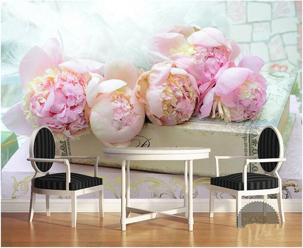 3d room wallpaper custom mural non-woven wall sticker 3 d Books on blooming pink flowers painting photo 3d wall murals wallpaper