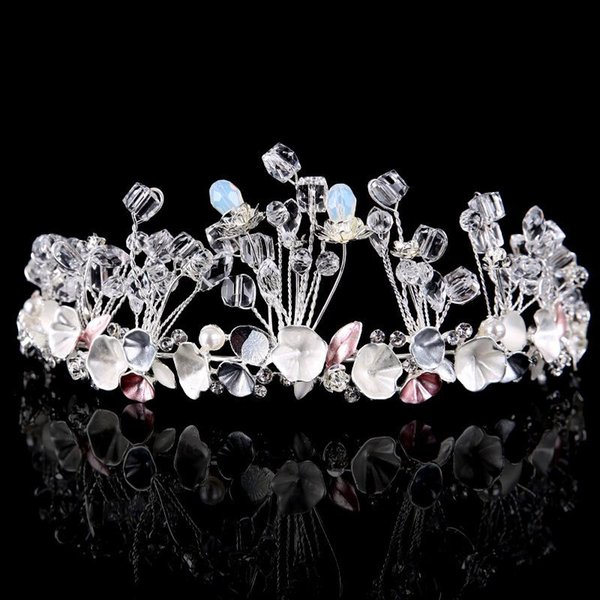 Bridal tiara high-end tiara alloy pearl hair color crystal crown women's jewelry