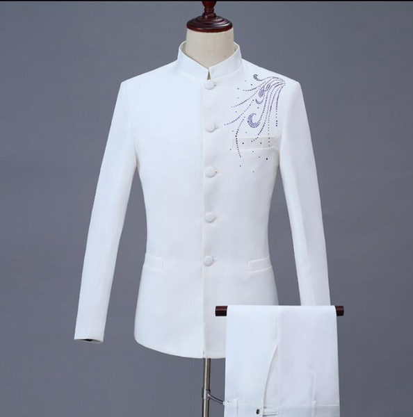 Singer star style dance stage white clothing for men groom suit set with pants 2018 mens wedding suits Paste drill formal dress