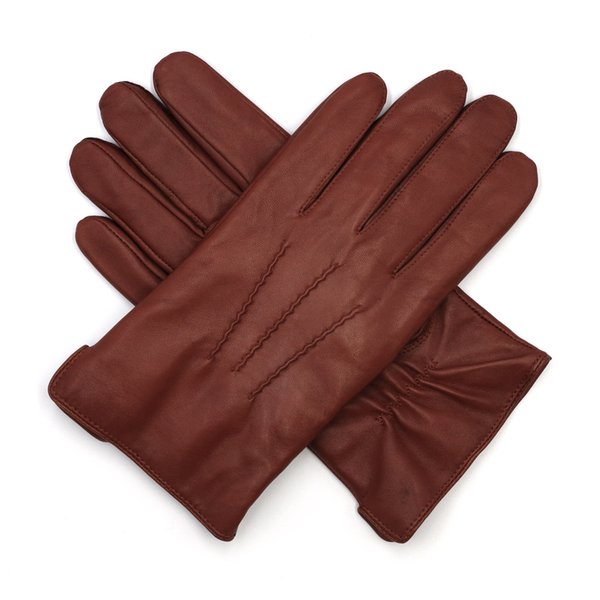 High Qulity Casual Mens Luxury Italian Sheepskin Leather Gloves Vintage Finished 100% Wool Lined Winter Brandy
