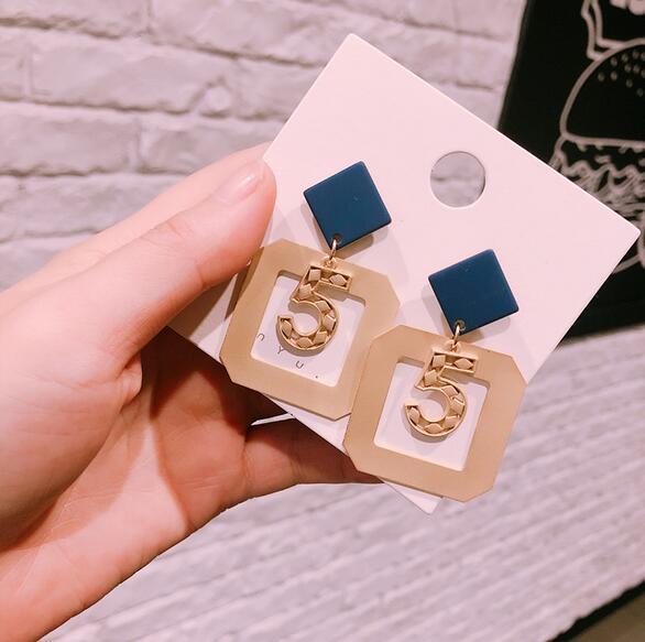 Korea Styles Geometry Square Earrings Number 5 Dangle Drop Earring Matte Gold Eardrop Ear Studs Women Girl Party Jewelry Accessories