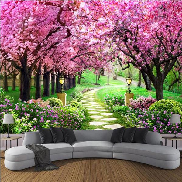 Benutzerdefinierte 3D Fototapete Blume Romantische Kirschblüte Baum Kleine Straße Wandbild Tapeten Für Wohnzimmer Schlafzimmer De Parede