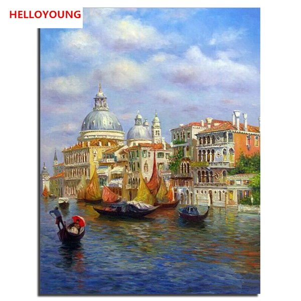 HELLOYOUNG Handpainted Oil Painting Water castle Digital Painting by numbers oil paintings chinese scroll paintings Home Decor