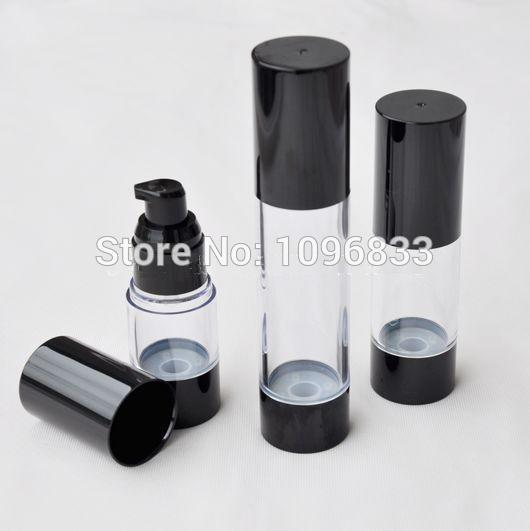 15ML 30ML 50ML Black Airless Bottle with Lotion Pump, Cosmetic Serum Lotion Gel Packing Bottle, Plastic Vacumm Bottle, 20pcs/Lot