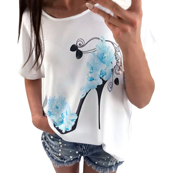 Harajuku T Shirt Women Short Sleeve High Heels Flower Printed summer crop Tops Casual Loose T-Shirt Roupa Feminina