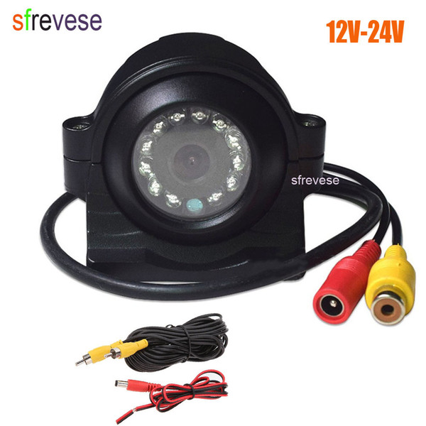 12V-24V12 LED Side HD Car Rear View CCD Reversing Backup Camera For Truck Bus Monitor RCA Plug + 5m Video Cable 10pcs/lot