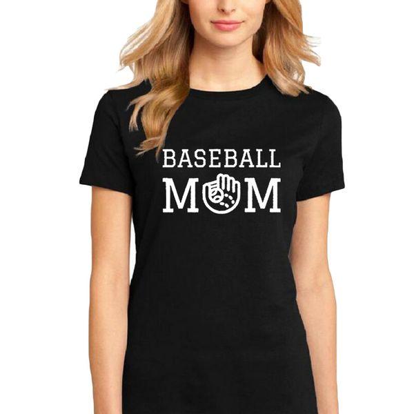 Women's Tee Baseball Mom - Fashion Women T Shirt Workout Outdoor Slogan Cotton Short Sleeve Tops Black And White Tshirt Summer Casual Tees