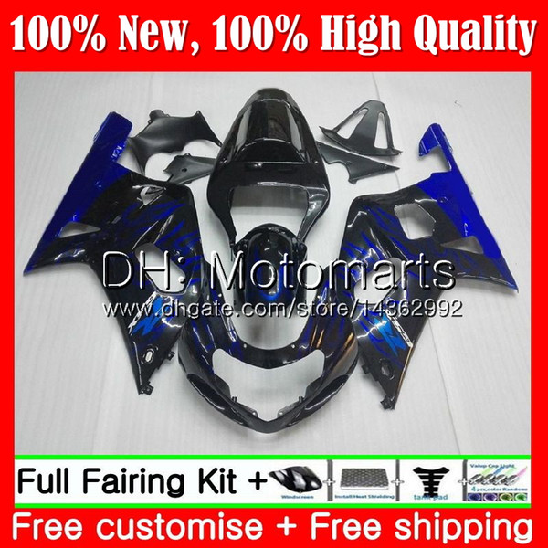 Body For SUZUKI Blue flames GSX-R600 GSXR 750 K1 GSXR750 01 02 03 23MT3 GSXR 600 01 03 GSX-R750 GSXR600 2001 2002 2003 Fairing Bodywork