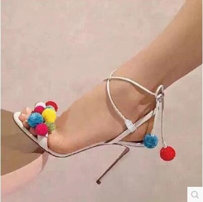 Red Yellow White Jeans Cloth High Heels Runway Sandals Shoes Women Colored Wool Balls Lace Up Ankle Tied Gladiator Sandals Women Sandalias