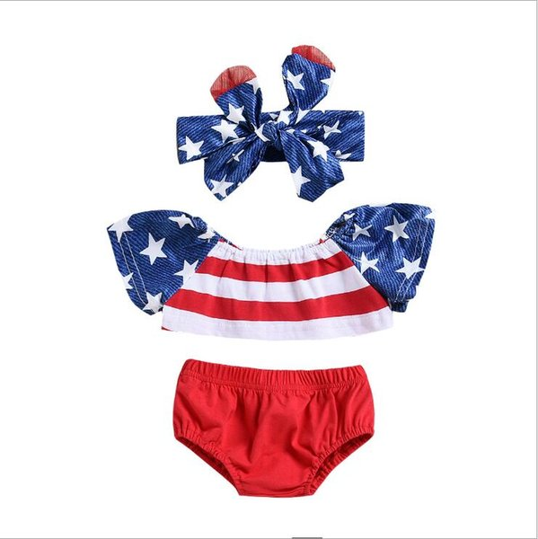 sets 2018 summer INS American Independence Day holiday style striped and five-pointed star printed t shirt+red shorts+hairband three sets