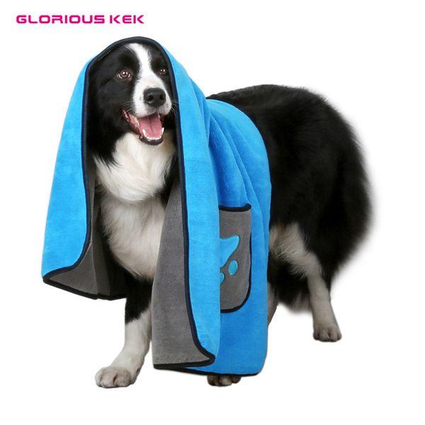 GLORIOUS KEK Dog Bath Towel 800G Two-Tone Microfiber Ultra-absorbent Dog Bathrobe Embroidery Pet Drying Towel Warm Thickened