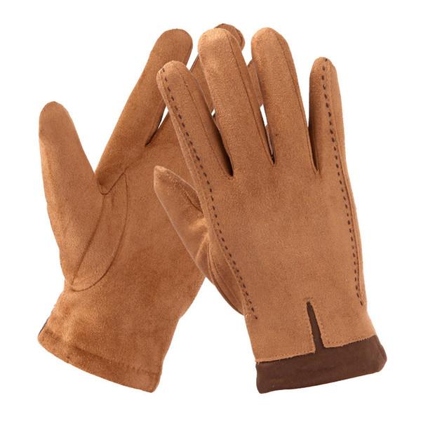 ff12e27cbde5 Suede Gloves Men S Winter Warm Plus Velvet Thick Cotton Driving Full Finger  Gloves Touch Screen TBWM01