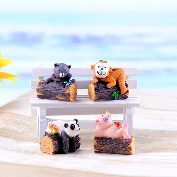 4pcs Resin Craft Fairy Garden Miniatures Bonsai Tools Terrarium Figurines jardin Cartoon Animal Tree Stump Home Accessories Micro Landscape