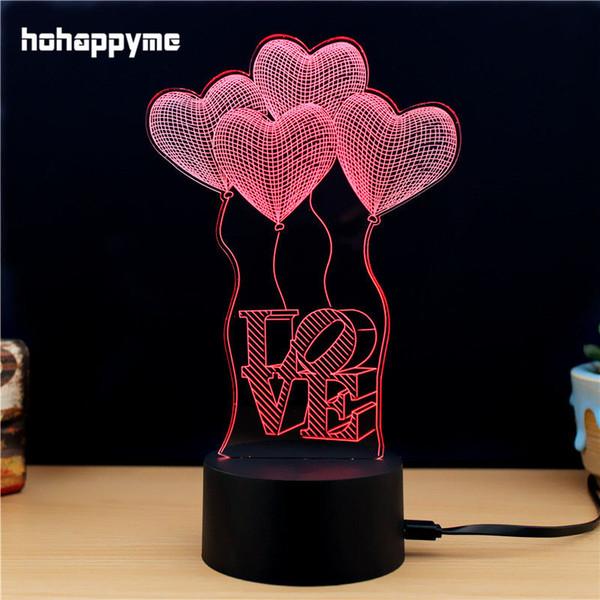 Coeur d'amour 3D LED Signe lumineux Acrylique LED Signe Home Decor Cadeau Bar Bureau Décoration Panneaux Plaques Plaques