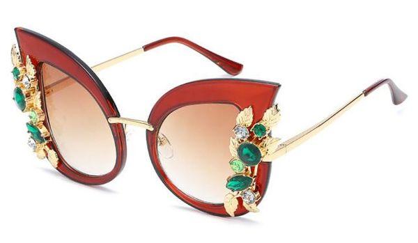 Europe sets diamond individual frame fashionable cat eye sunglasses new trend big frame sunglasses female model sun glasses
