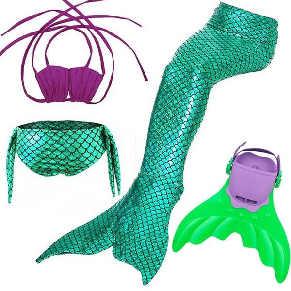 24 Renkler Çocuklar Yüzme Denizkızı Kuyruğu ile Monofin Kostüm Cosplay Giyim Çocuk Kızlar için Denizkızı Kuyrukları Yüzme Yüzmek