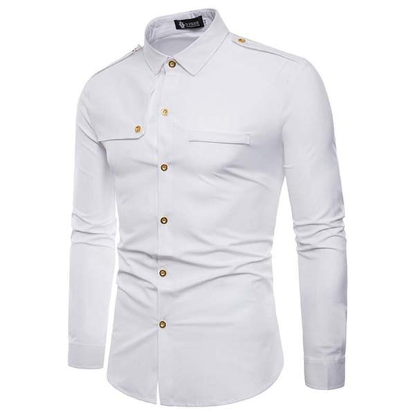 4527051a4 Camisa dos homens Cor Sólida Ocasional branco Moda Carga Camisas Longo-Luva Masculina  Slim Fit