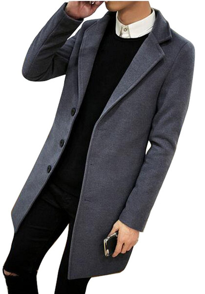 best selling Mens Casual Single Breasted Slim Fit Wool Blended Pea Coat Long Winter Single Breasted Outerwear Mens