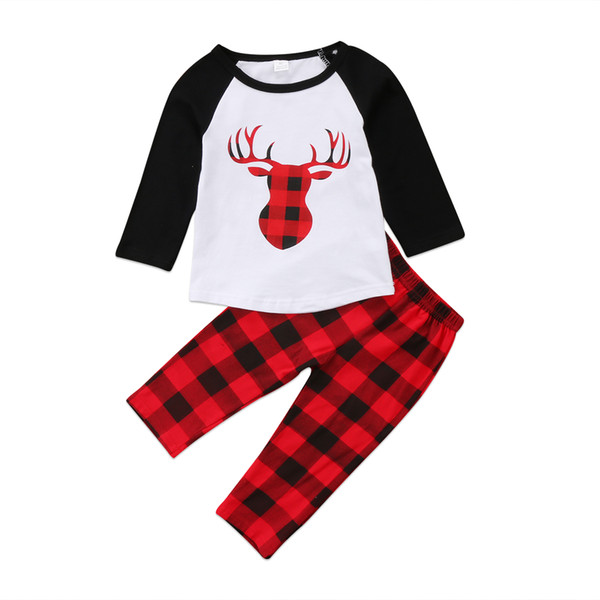 Kid Baby Boys Girls Christmas Outfits Animals Reindeer Top Plaid Pants 2-piece Children Clothing Toddler Long Sleeve Boutique Kid Clothes