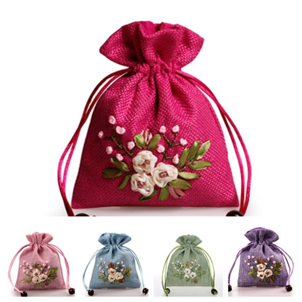 new Handmade Cotton Linen Storage Package Bag Drawstring Bag Small Coin Purse Travel Women Small Cloth Bag Christmas Gift pouch Jewellery ba
