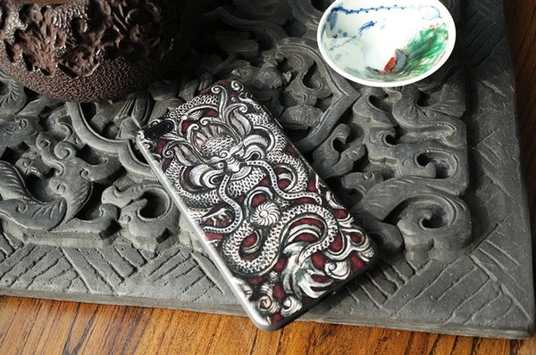 2018 new original national retro silver dragon embossed 3D printing trend all-bag anti-skid anti-fall Apple mobile phone case