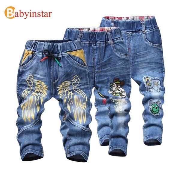 love9love / Babyinstar Kinder Jungen Jeans Hosen 2017 Cartoon Flügel Muster Casual Frühling Herbst Jeans für Kinder Mädchen Denim Hosen