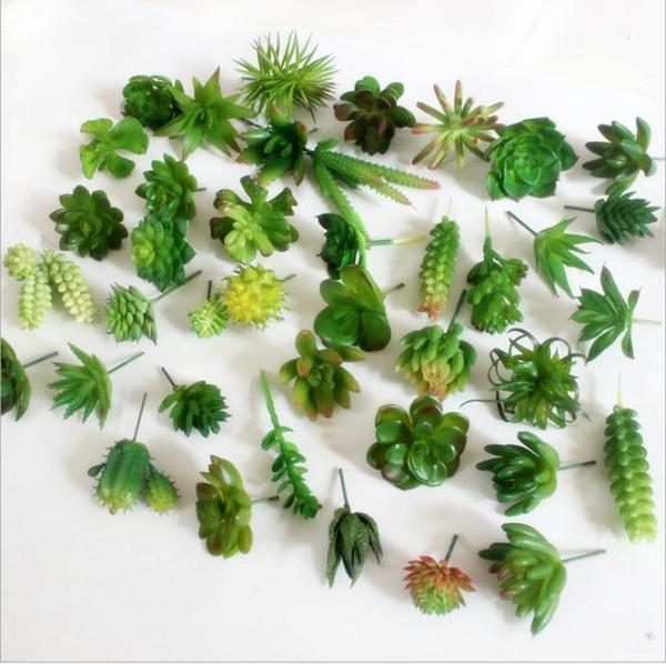 Cheap sale Artificial Plants Bonsai Tropical Cactus Fake Succulent Plant Potted Office Home Decorative Flower Pot 20pcs/lot