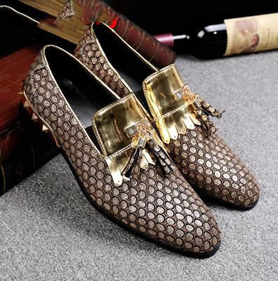 Choudory sapatos masculino mens dress shoes braided leather black spiked loafers velvet gold tassel slipon italian mens shoes