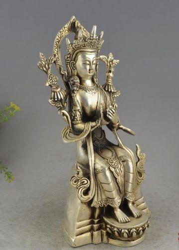 Tibet Buddhism Silver Seat Tara Kwan-yin Guan Yin Bodhisattva Goddess Statue