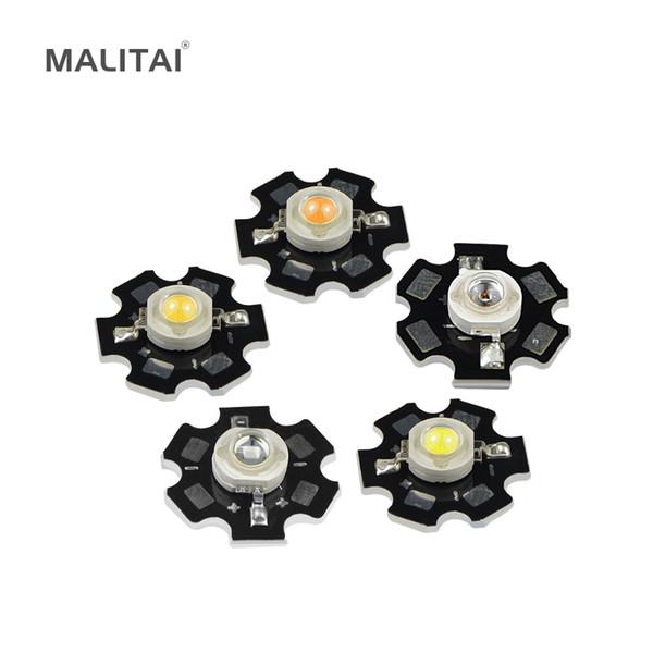 10 Unids 1 W Lámpara de Bombilla LED de Alta Potencia SMD Blanco cálido RGB UV Espectro Completo Crecer la luz Diodo Emisor de Chip PCD Aluminio Disipador de calor