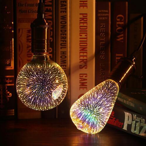 top popular Led Light Bulb 3D Decoration Bulb E27 6W 110-220V Holiday Lights ST64 G95 G80 G125 A60 Novelty ChristmasLamp Lamparas 2020