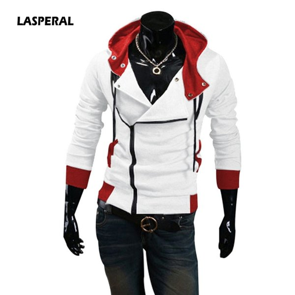 LASPERAL 2018 Men Hoodie Tracksuit Patchwork Hooded Jacket Coat Casual Exercise Men's Male Hooded Jackets Assassins Creed M-6XL