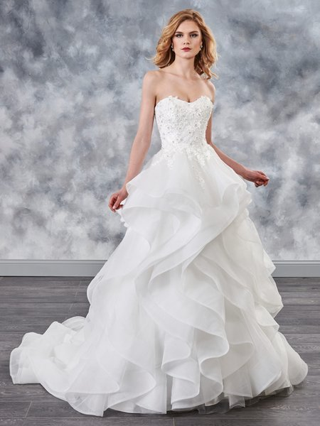 Beauty Ivory White Tulle Applique Beads A-Line Wedding Dresses Bridal Pageant Dresses Wedding Attire Dresses Custom Size 2-16 KF1021156
