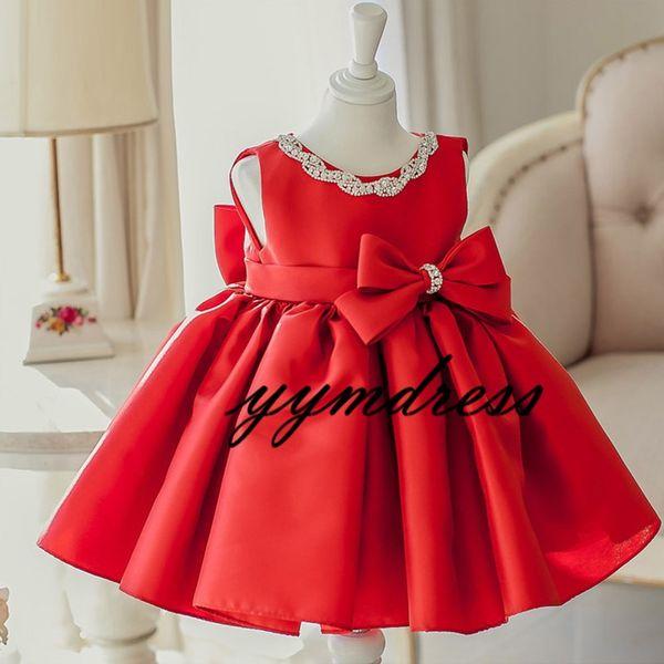 Red Girls Pageant Dresses 2019 Ball Gowns Big Bow Child Knee Length Glitz Flower Girls Dresses For Wedding Birthday Beads Satin