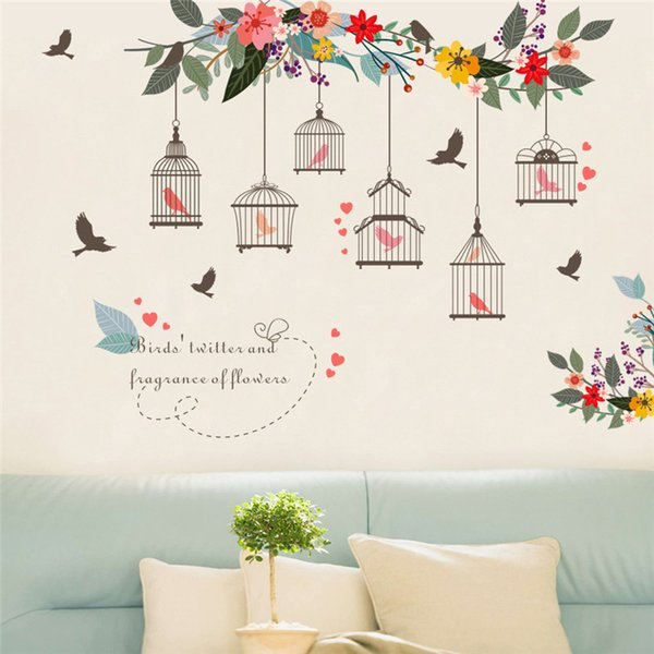 Diy Creative Wall Stickers Flower Birds Birdcage For Bedroom Living Room TV Wall Decoration Murals Removable Home Decor