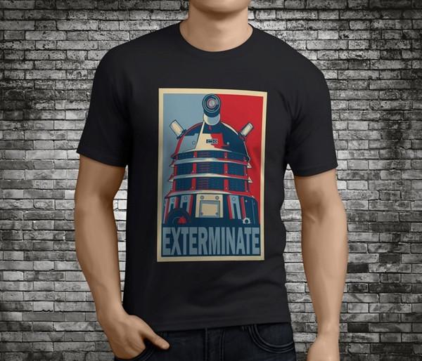 DOCTOR WHO EXTERMINATE DALEK Men/'s Black T-Shirt Size S to 3XL