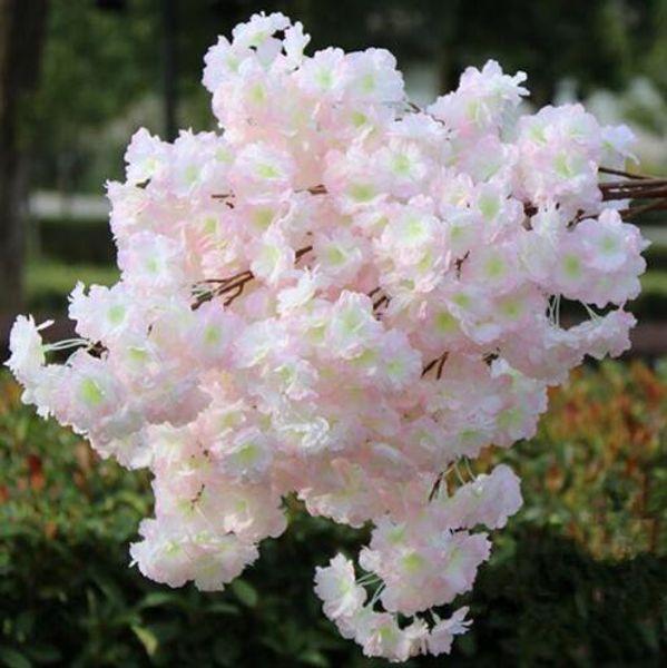 Montado en el piso 6p Fake Cherry Blossom Flower Branch Begonia Sakura Tree Tallo para eventos Wedding Tree Deco Artificial Decorative Flowers