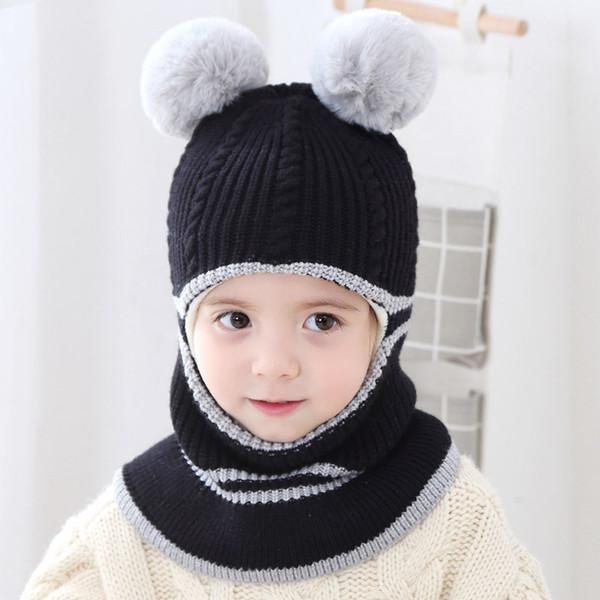 Baby Kleinkind Mädchen Jungen Warm Hut Winter Beanie mit Kapuze Schal// Mütze