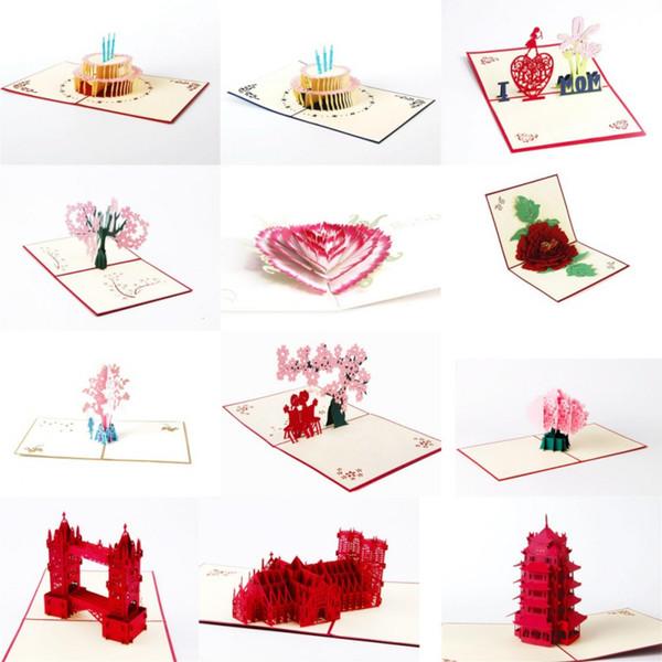 3D greeting card Paper carving hollow Postcard 1pc Birthday Wedding Valentine Anniversary Greeting Cardsjjps