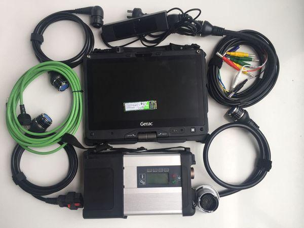 Mb yıldız c5 laptop ile tam set süper ssd 240 gb getac v110 i5 4g dokunmatik ekran teşhis için 12 v 24 v araç kamyon tarayıcı