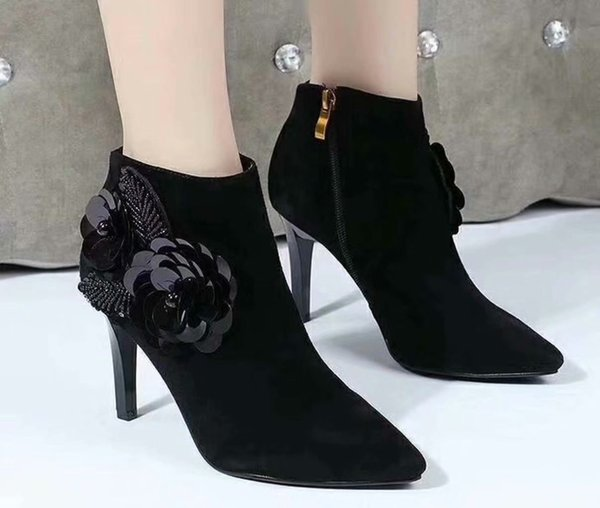 Flowers Women Suede Dress Wedding Party Prom Ankle Boots Shoes 2018 Autumn Pointed Toe Ladies Fashion Short Shoes Sapatos Mujers