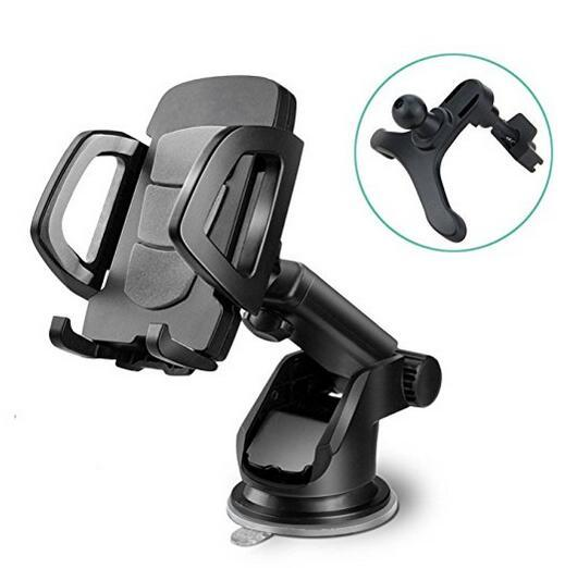 Car Phone Holder, Universal Windshield Dashboard Vent Cell Phone Cradle Mount for Smartphone, Mobile Phone, Cellphone (Black)